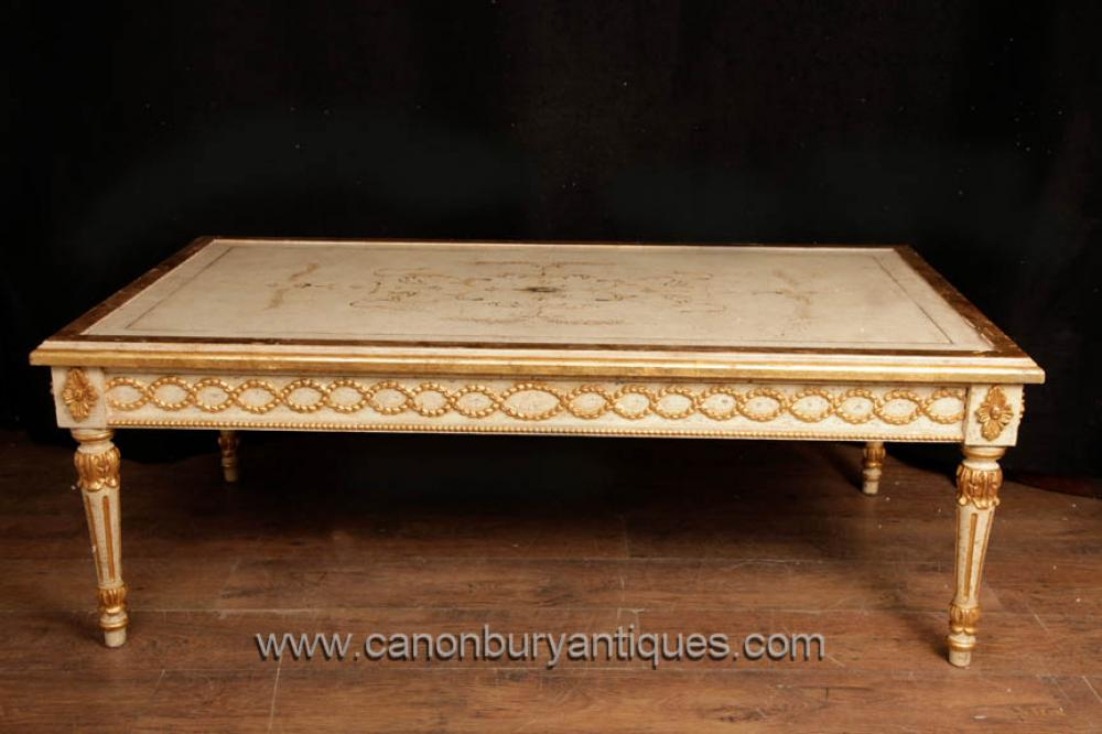 Antique French Empire Painted Coffee Table Gilt