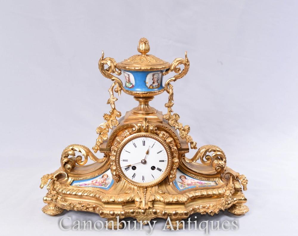 Antique French Gilt Mantle Clock Sevres