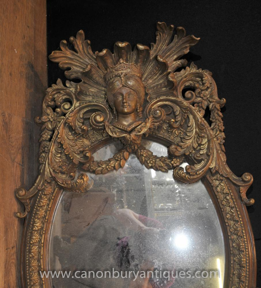 Antique French Louis Xvi Gilt Mirror Oval Carved Mirrors