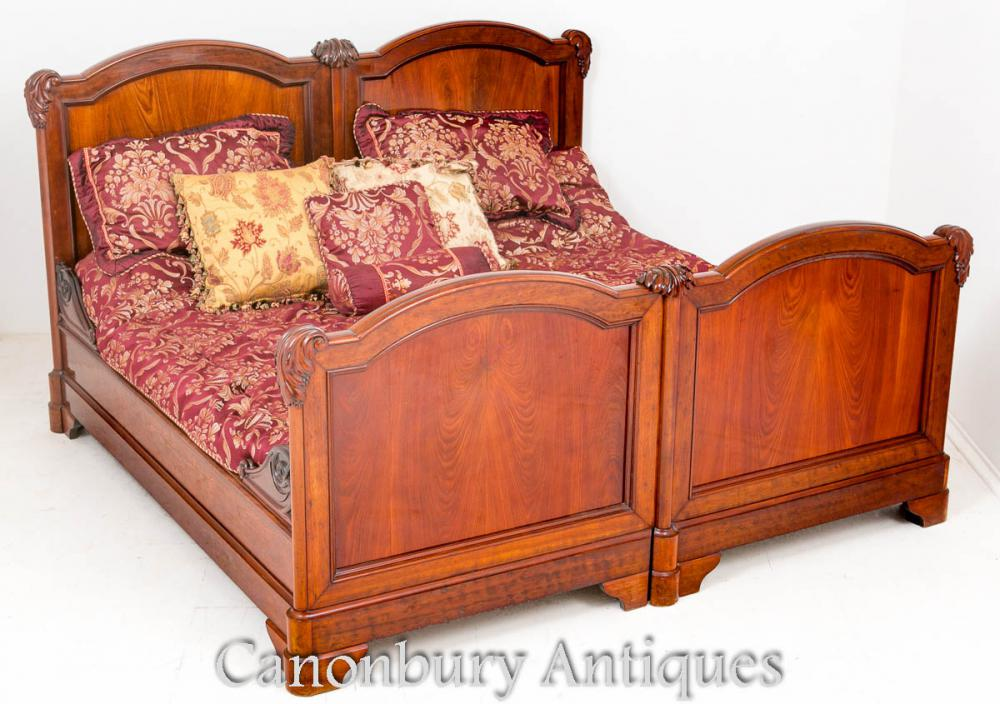 Antique french mahogany double bed carved bedroom for Mahogany bedroom furniture