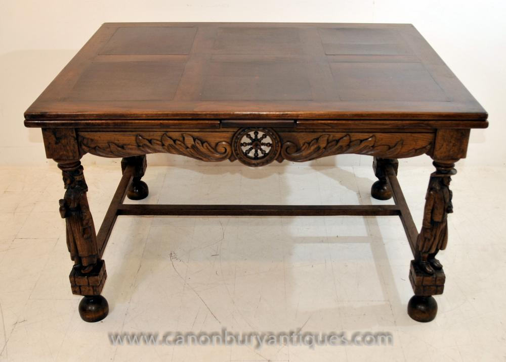Antique French Provincial Extending Oak Dining Table