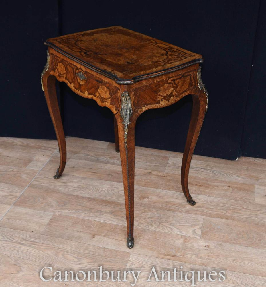 Antique french side table exotic wood inlay