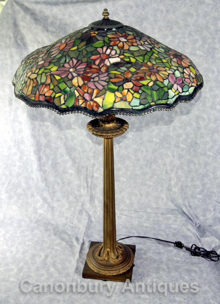 Vintage Glass Table Lamps : Antique french tiffany bronze table lamp light glass shade