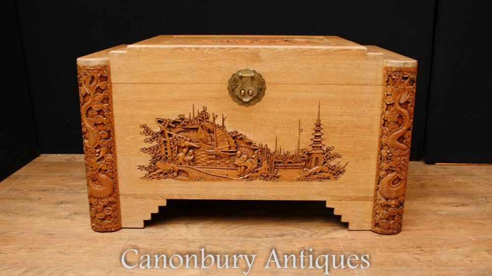 Antique Hand Carved Camphor Wood Chest Trunk Hong Kong