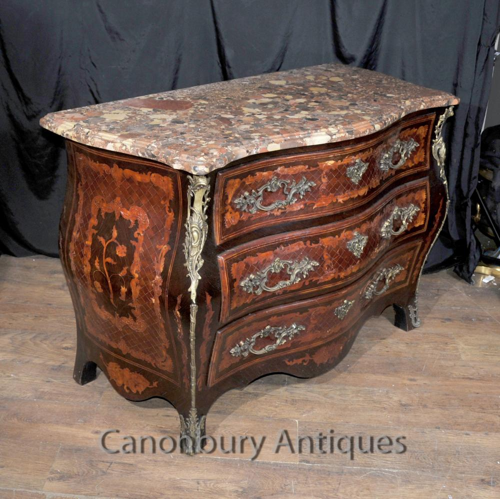 Antique Louis Xvi French Chest Drawers Marquetry Inlay
