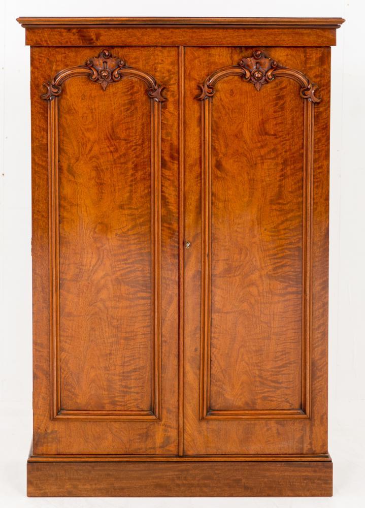 Antique Mahogany Victorian 2 Door Cabinet Closet Wardrobe