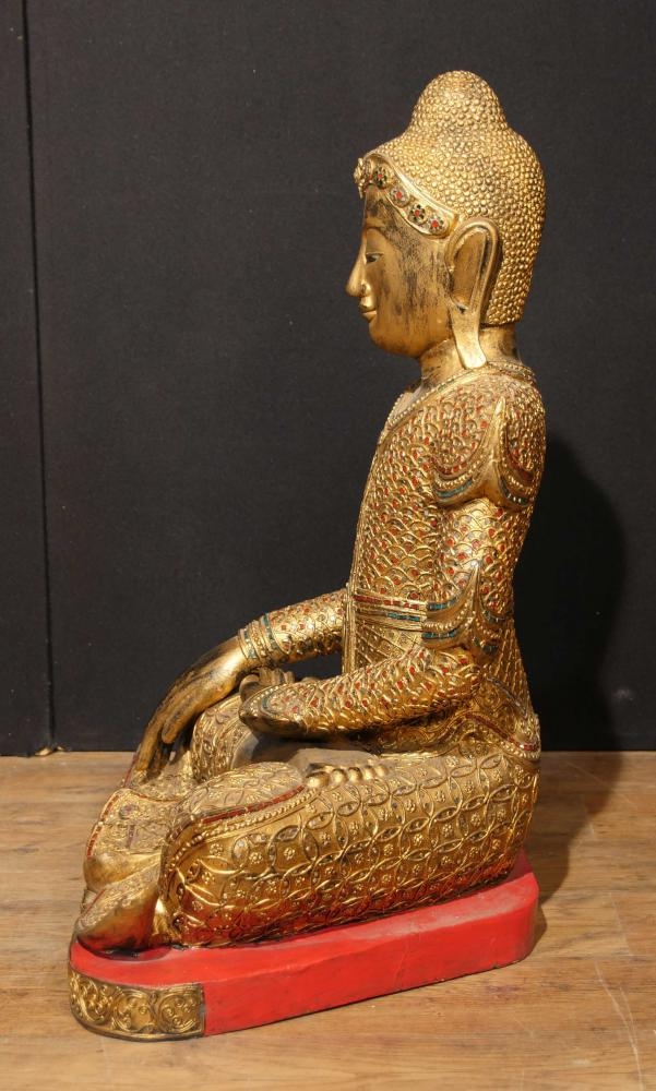 Antique Nepalese Buddha Statue Carved Wood Buddhism