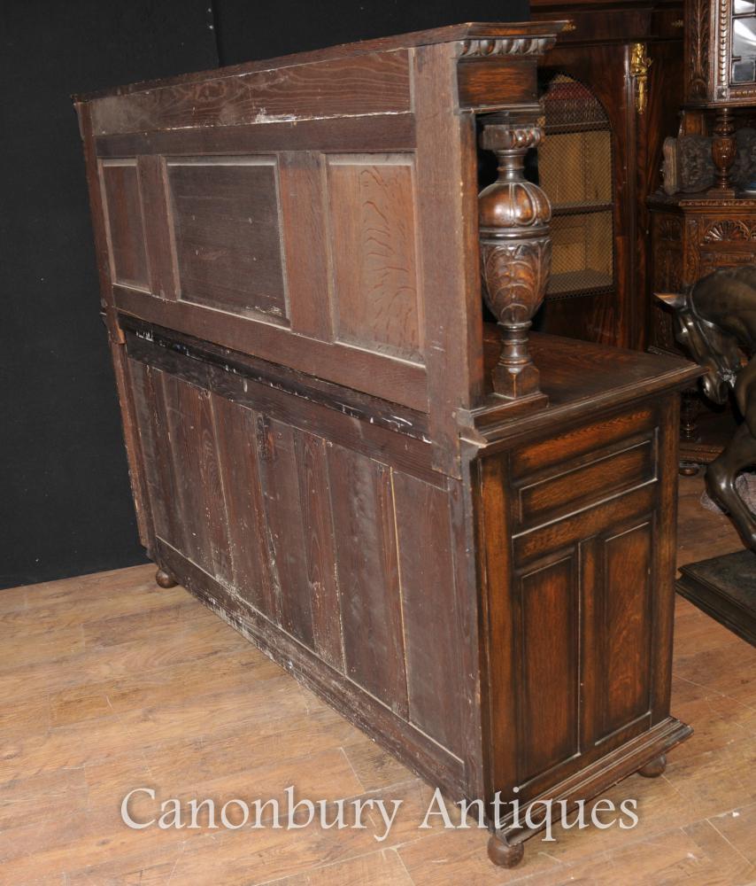 Antique oak jacobean sideboard server buffet kitchen furniture for Antikes küchenbuffet