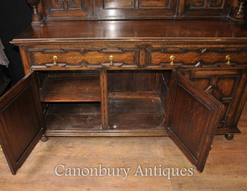 antique oak jacobean sideboard server buffet kitchen