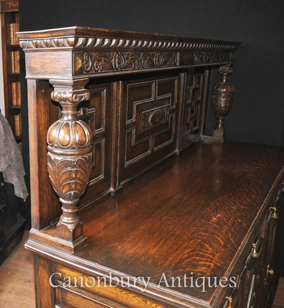 - Antique Oak Jacobean Sideboard Server Buffet Kitchen Furniture