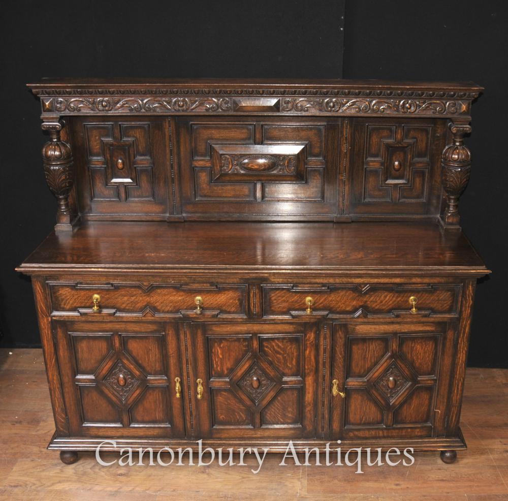 antique oak jacobean sideboard server buffet kitchen furniture ebay additional images