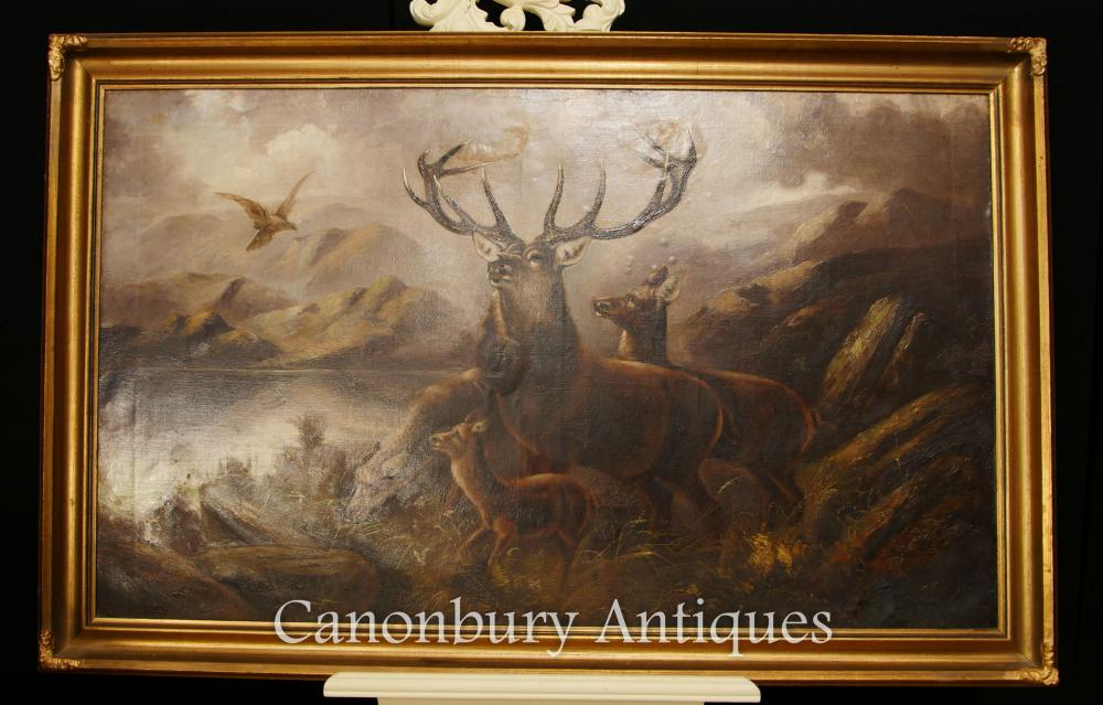 Antique Scottish Oil Painting Monarch Of The Glen Stag