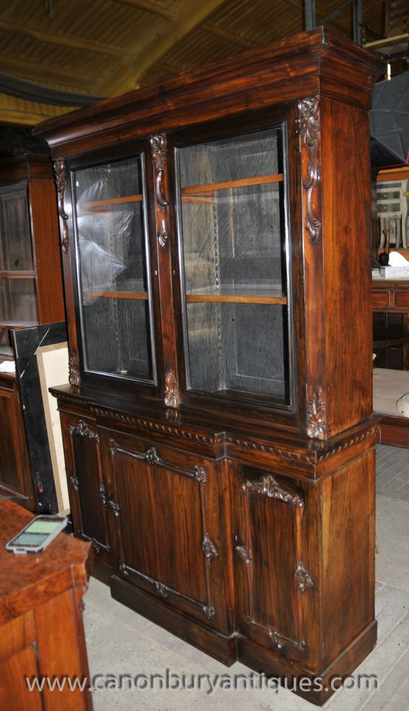 Antique Scottish Victorian Mahogany Five Door Bookcase Or