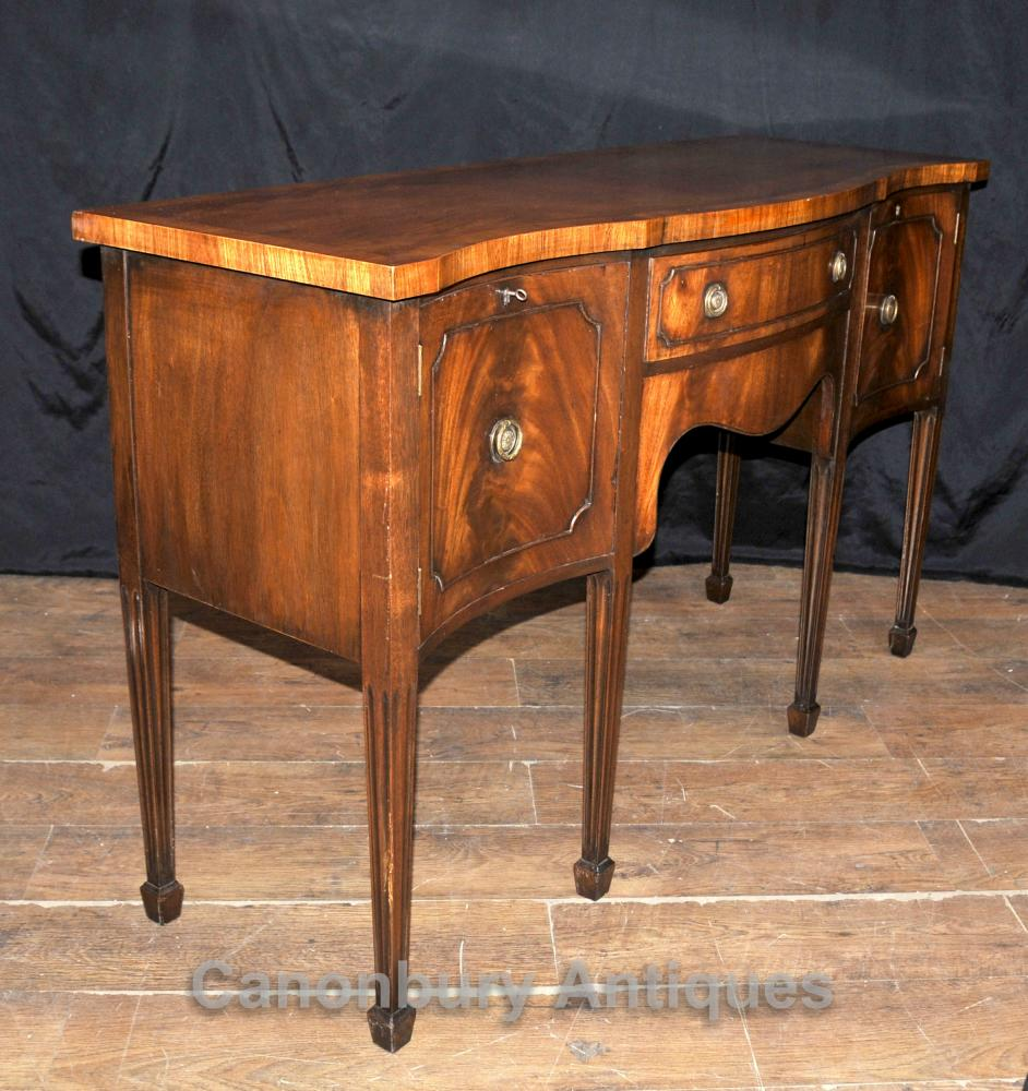 antique sheraton sideboard server buffet flame mahogany 1920s. Black Bedroom Furniture Sets. Home Design Ideas