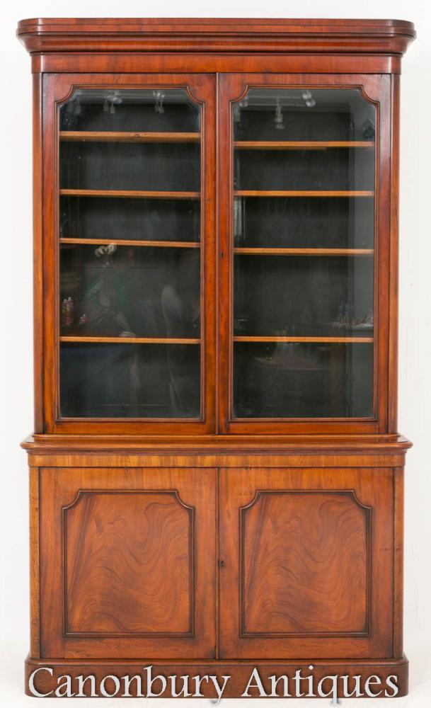 Antique Victorian Bookcase Glass Cabinet Mahogany 1860