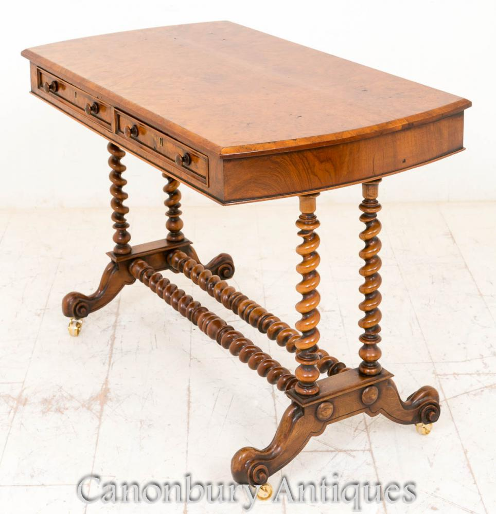 Antique Victorian Burr Walnut Side Console Table Barley