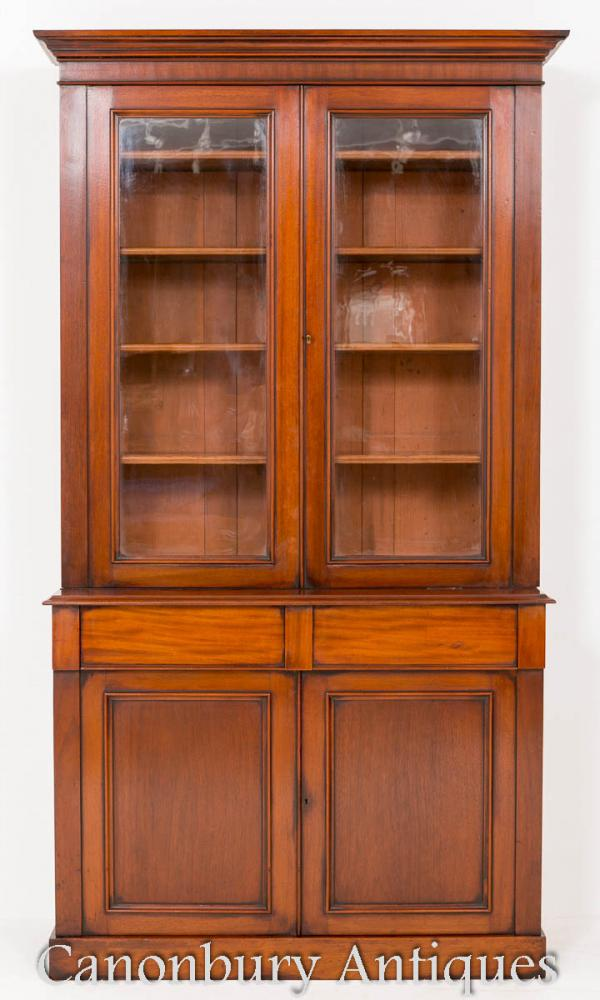 Antique Victorian Mahogany Bookcase Glass Display Cabinet