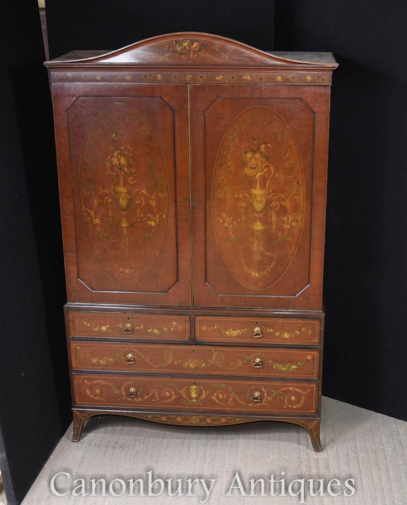 Antique Victorian Satinwood Painted Linen Press Cabinet Chest 1820