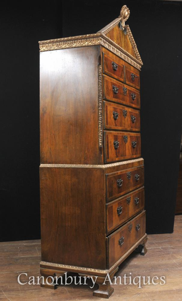Antique Walnut Chest On Chest Cabinet English Furniture