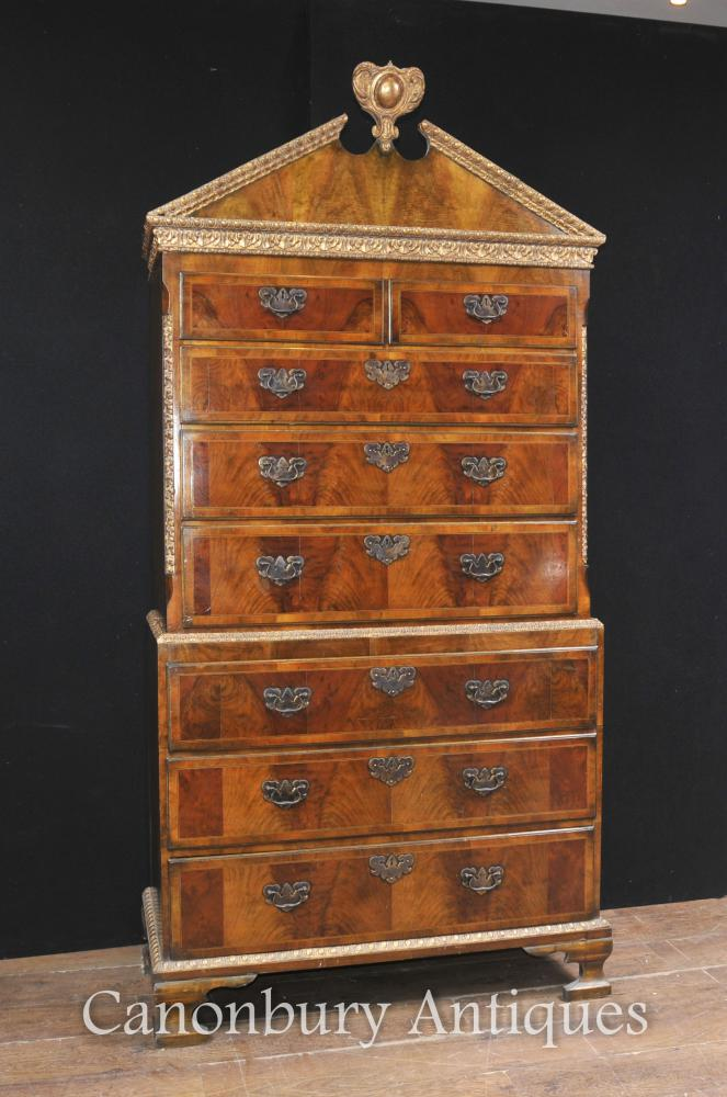 Additional Images - Antique Walnut Chest On Chest Cabinet English Furniture 1840 Tall