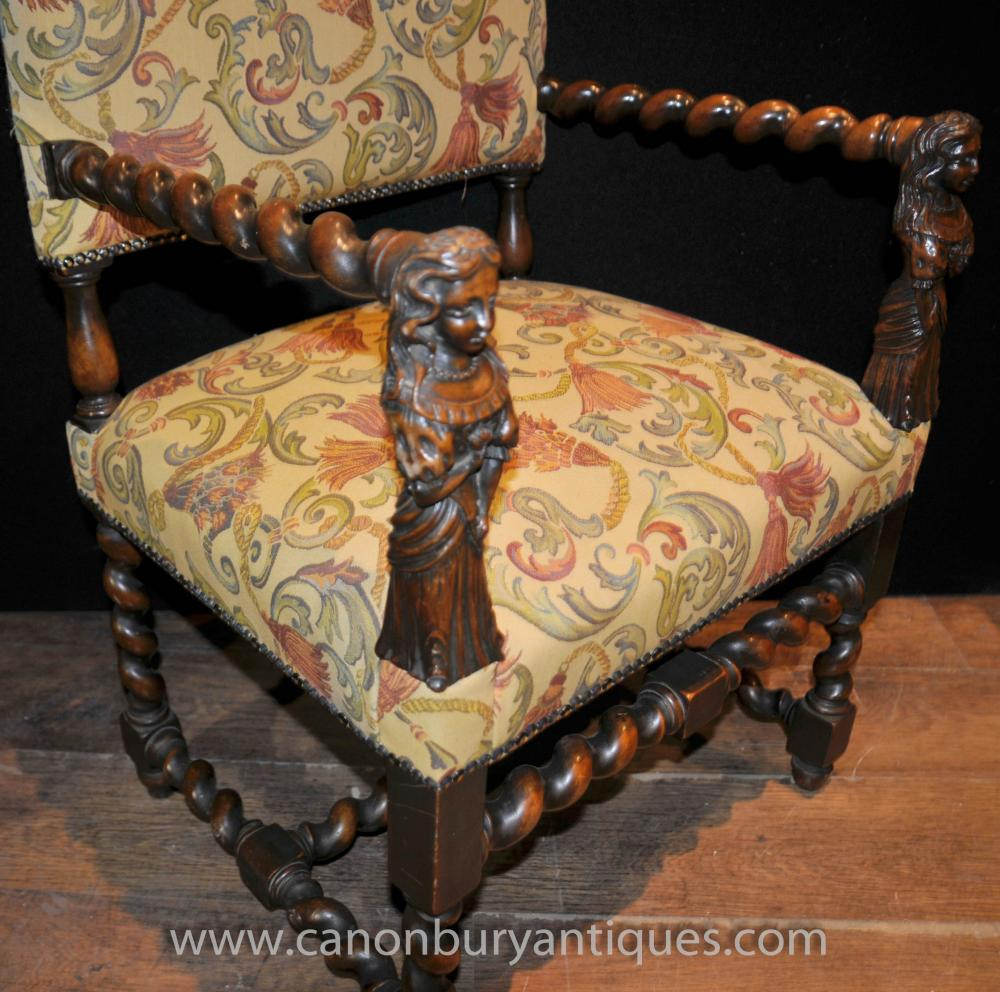 Additional Images - Antique Walnut Hand Carved Italian Arm Chairs Barley Twist 1860 EBay