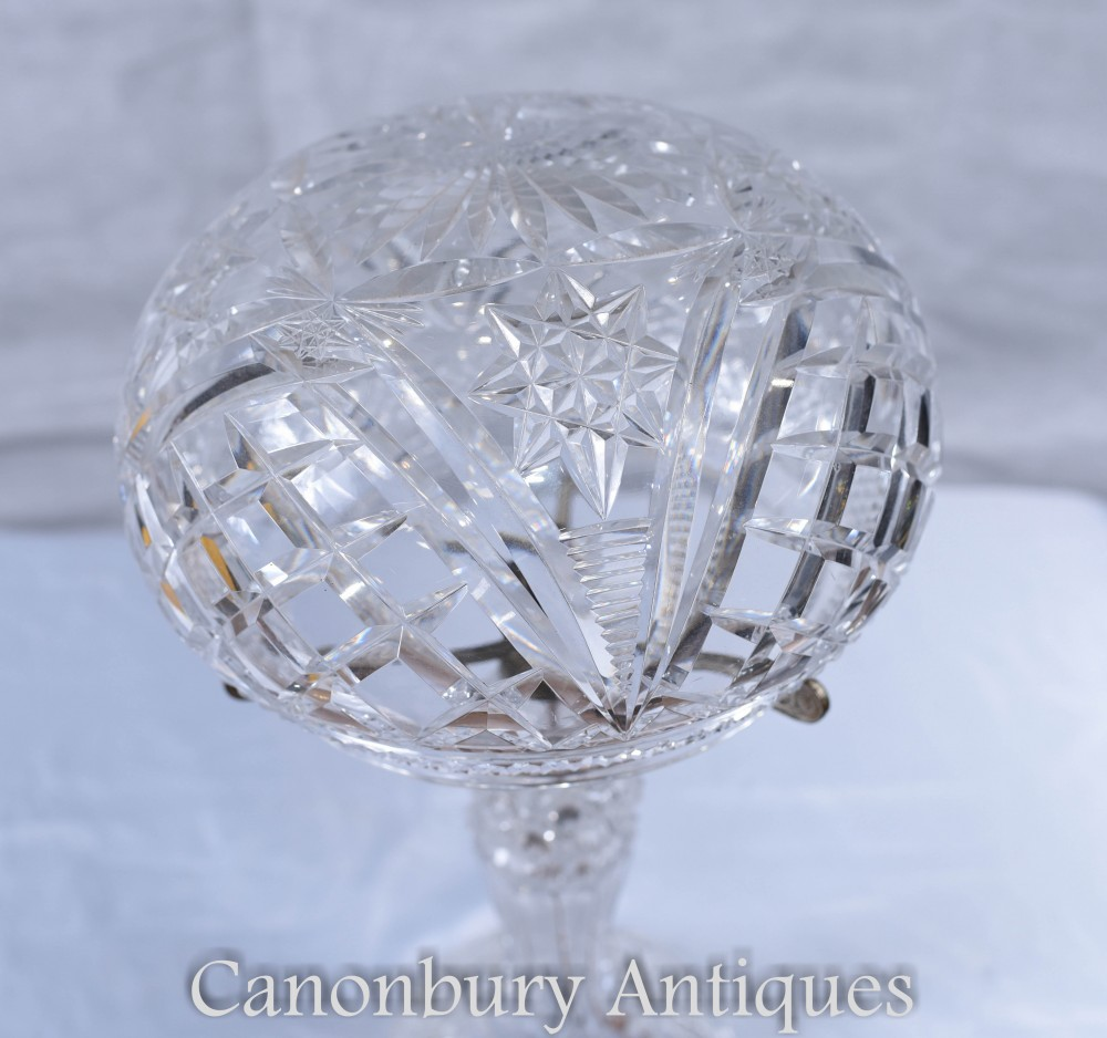 Antique Waterford Cut Glass Table Lamp Light Circa 1920s