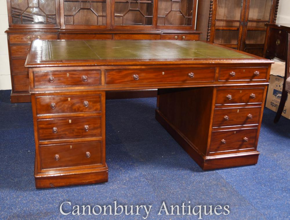antique william iv mahogany partners desk 87979