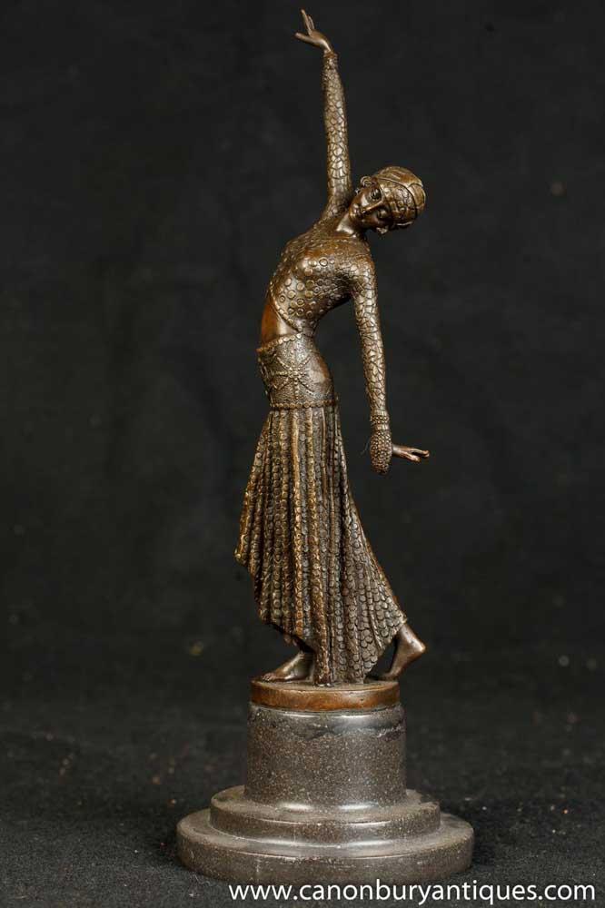 art deco bronze chiparus belly dancer footsteps figurine. Black Bedroom Furniture Sets. Home Design Ideas