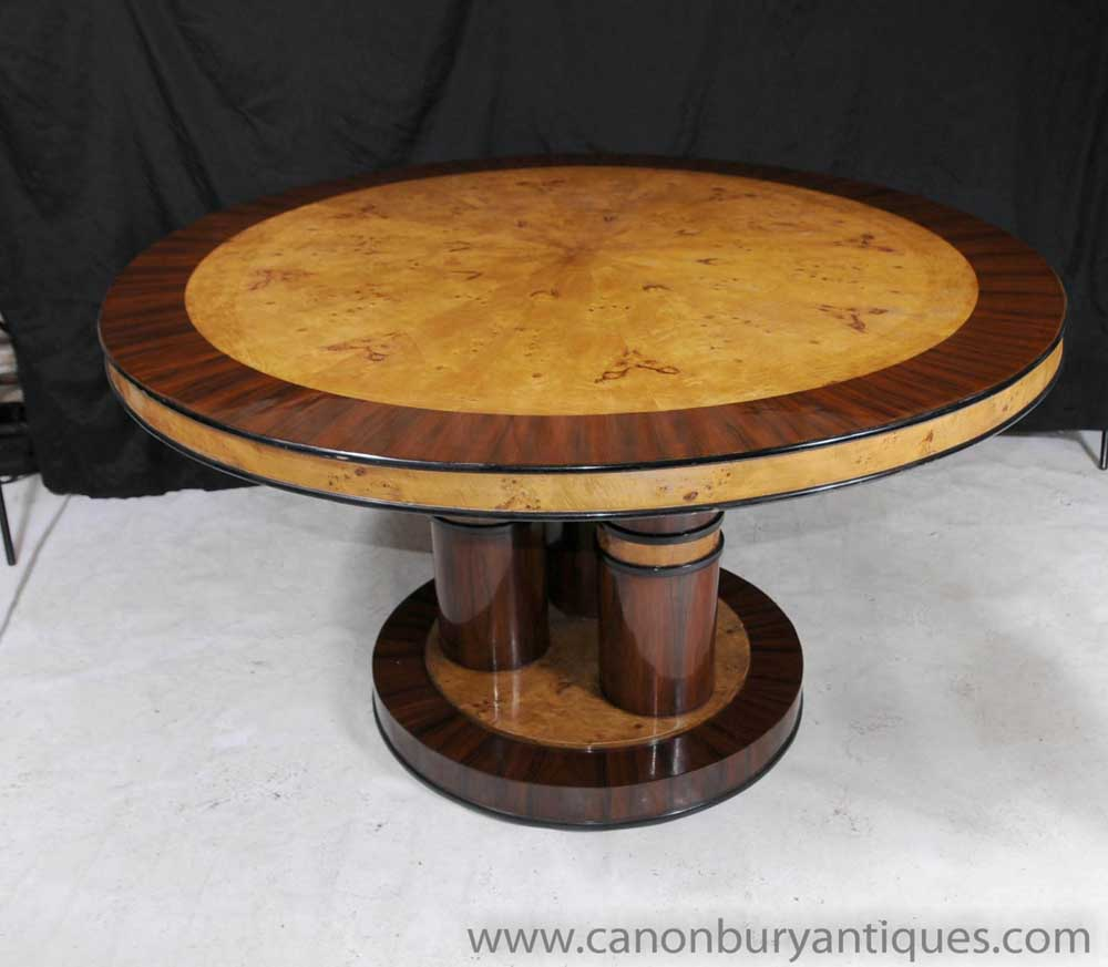 Art Deco Inlay Round Dining Table Centre Tables Furniture