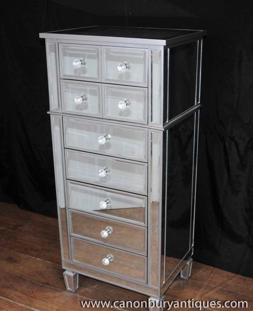 art deco mirror chest drawers tall boy mirrored furniture. Black Bedroom Furniture Sets. Home Design Ideas