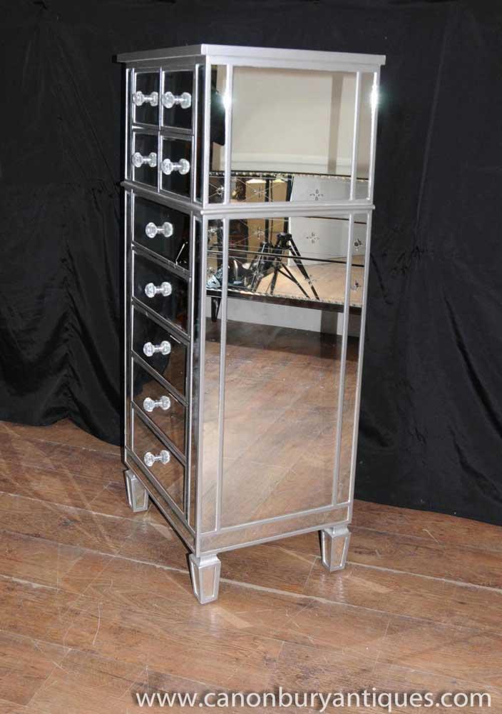 Art Deco Mirror Chest Drawers Tall Boy Mirrored Furniture