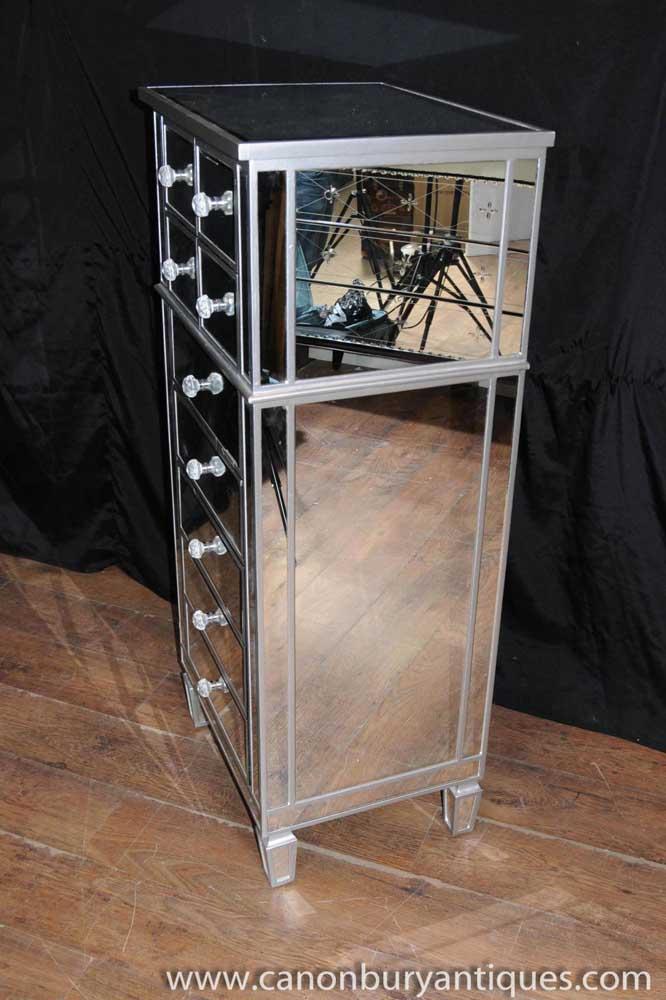 . Art Deco Mirror Chest Drawers Tall Boy Mirrored Furniture   eBay