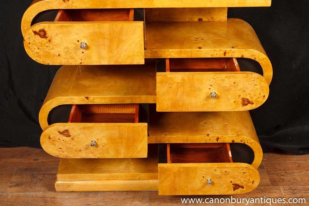Art Deco S Shape Bookcase Shelf Unit Chest Drawers
