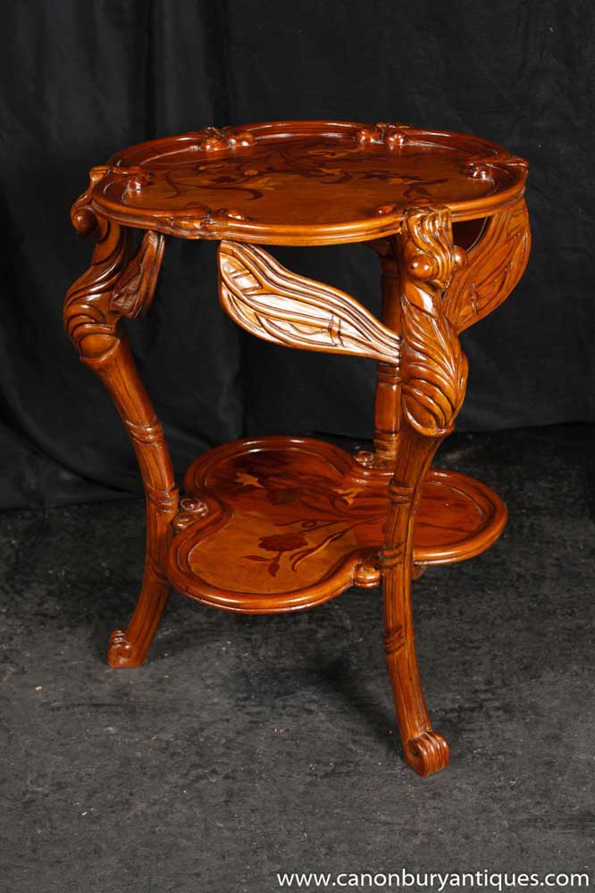 Art Nouveau Walnut Dragonfly Side Table Galle Tables