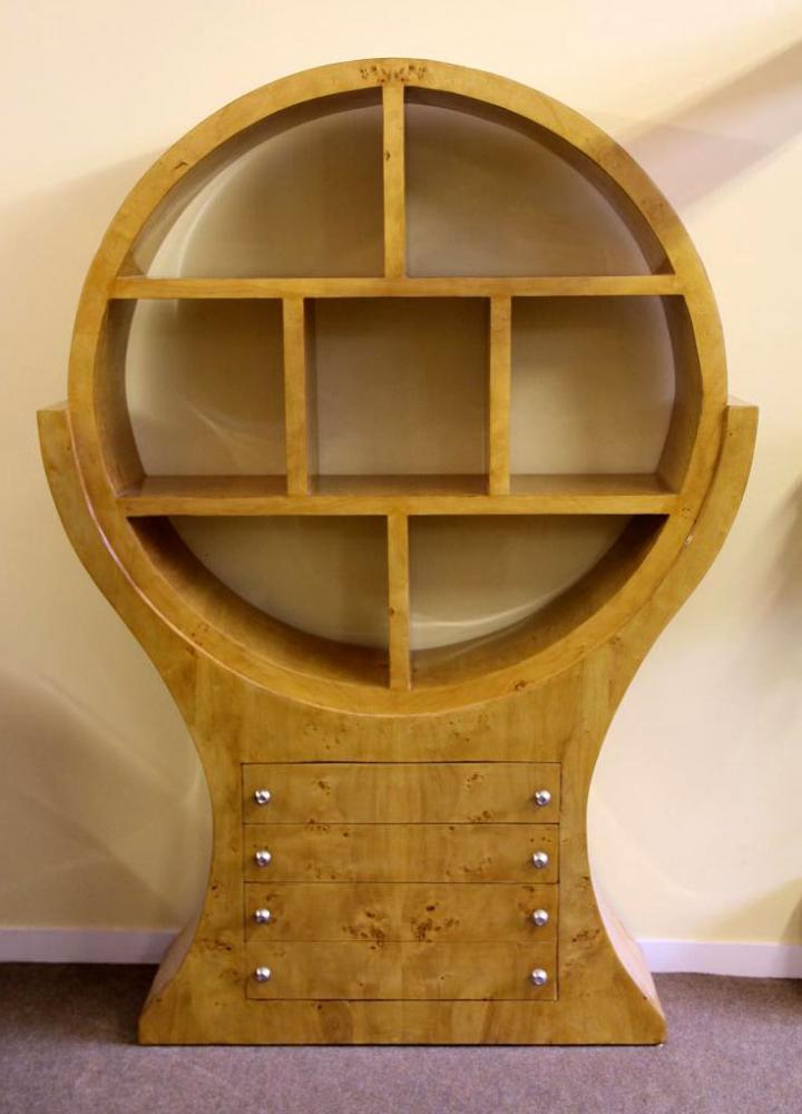 Art Deco Bookcase Shelf Cabinet Blonde Walnut Furniture 1920s
