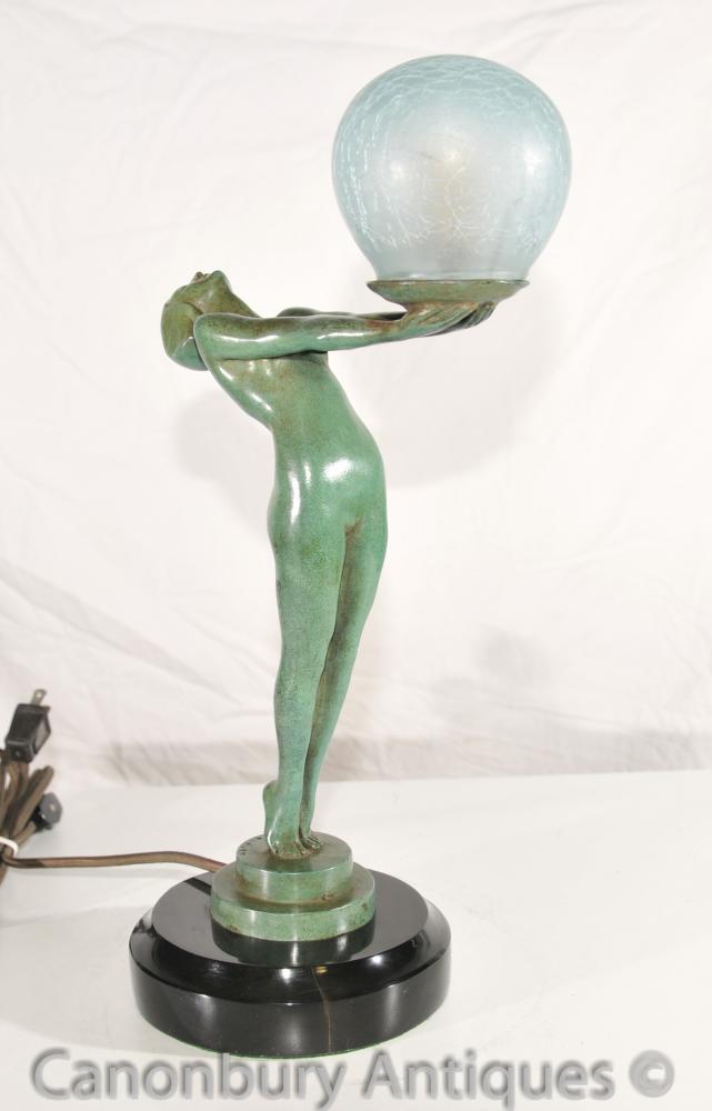 Art Deco Bronze Clarte Biba Girl Figurine Table Lamp Light