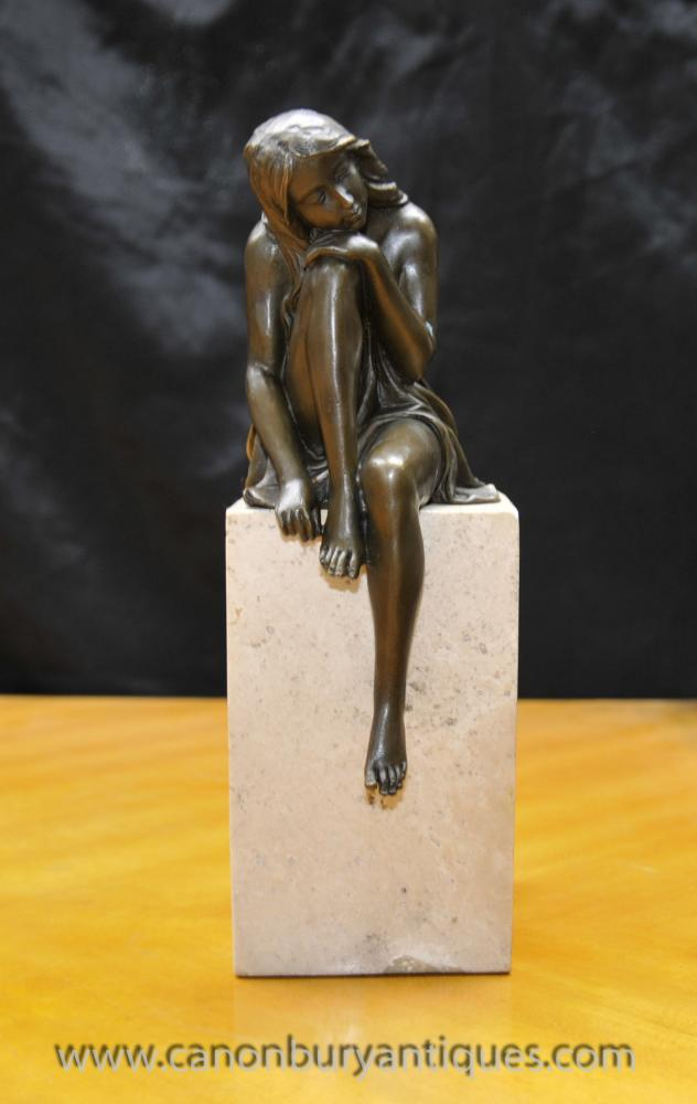 Art Deco Bronze Female Figurine On Marble Plinth Signed Milo