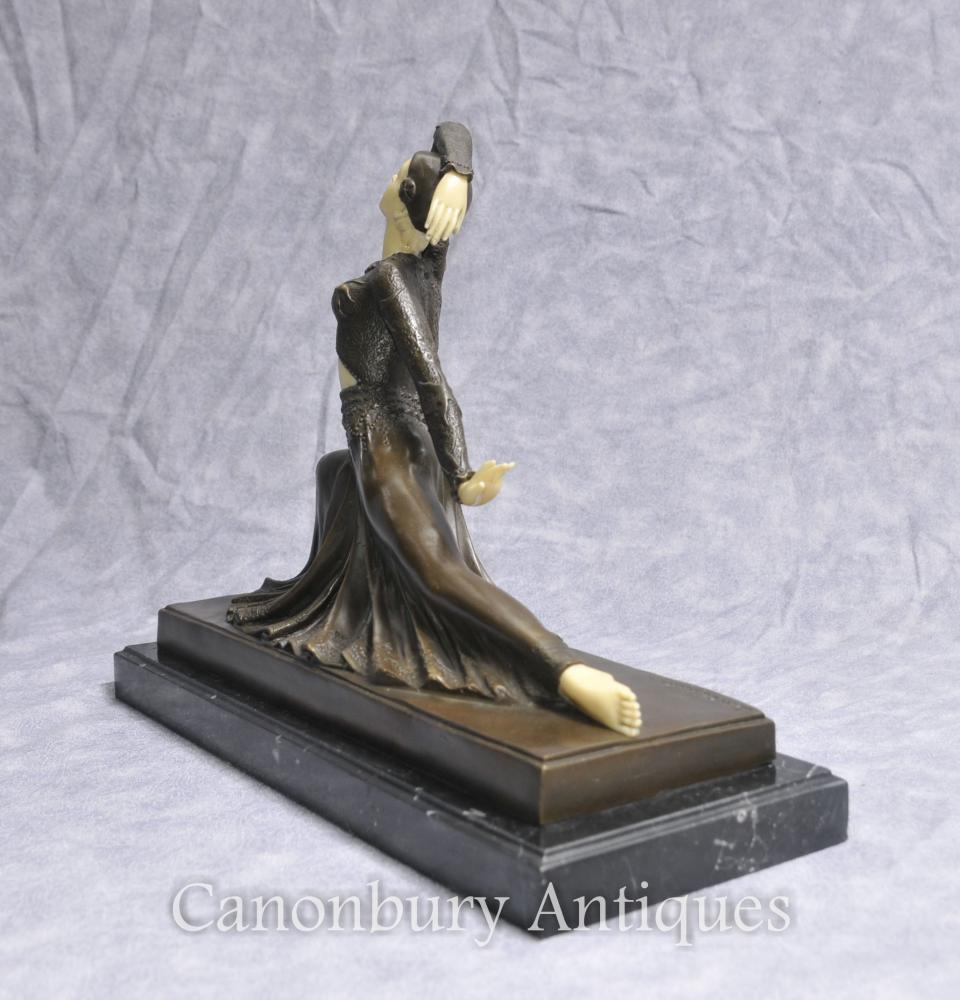 art deco bronze figurine clara by chiparus statue. Black Bedroom Furniture Sets. Home Design Ideas