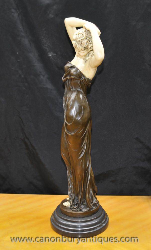 Art Deco Bronze Seductive Women Figurine By Gory