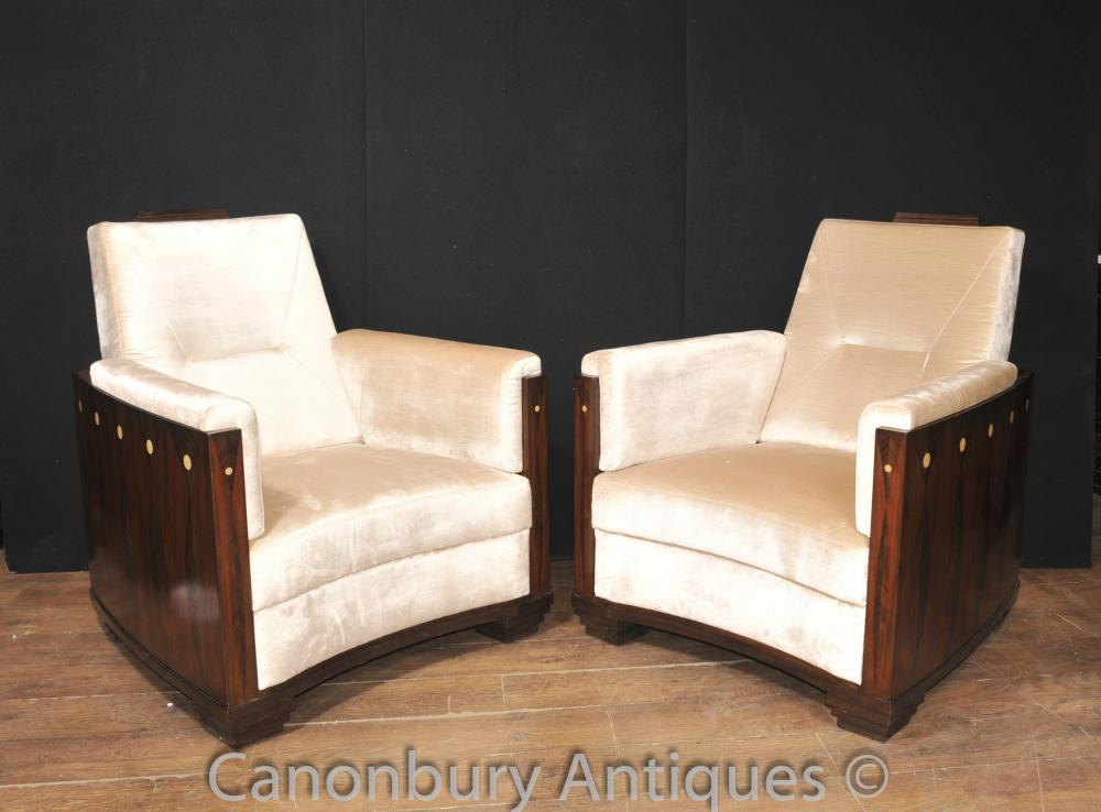 Art Deco Club Chairs Rosewood Arm Chair Sofa Seat
