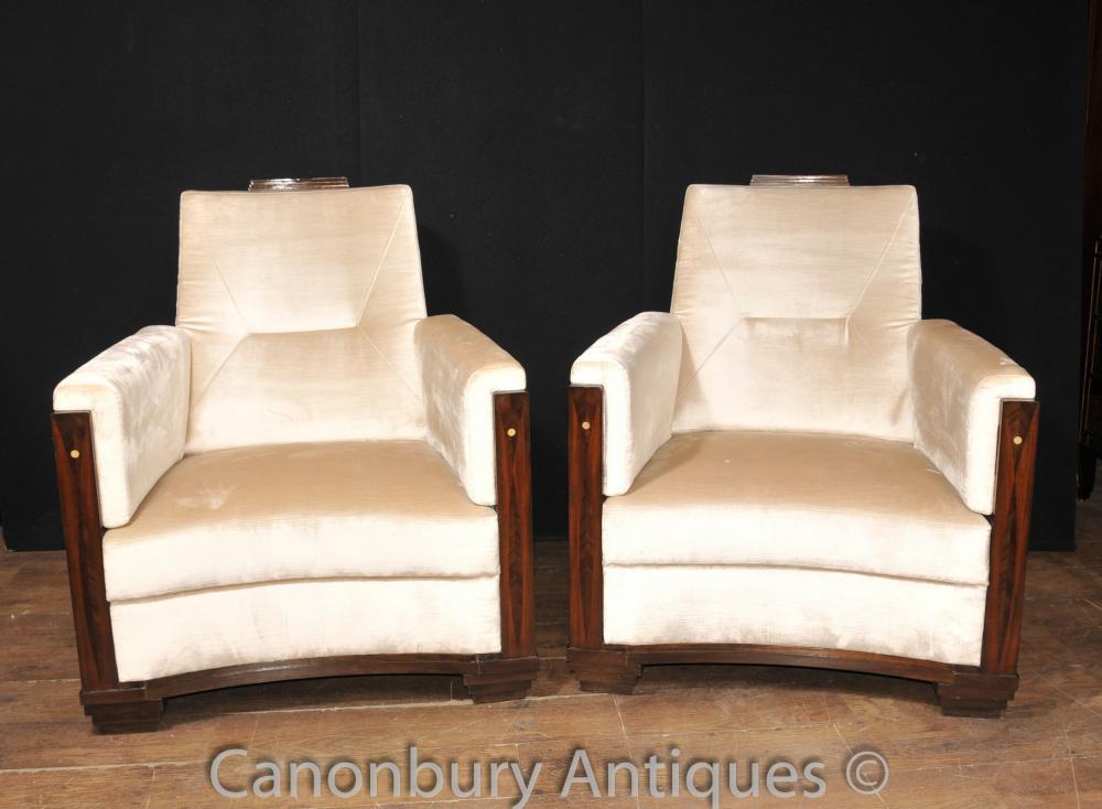 Art Deco Club Chairs Rosewood Arm Chair Sofa Seat