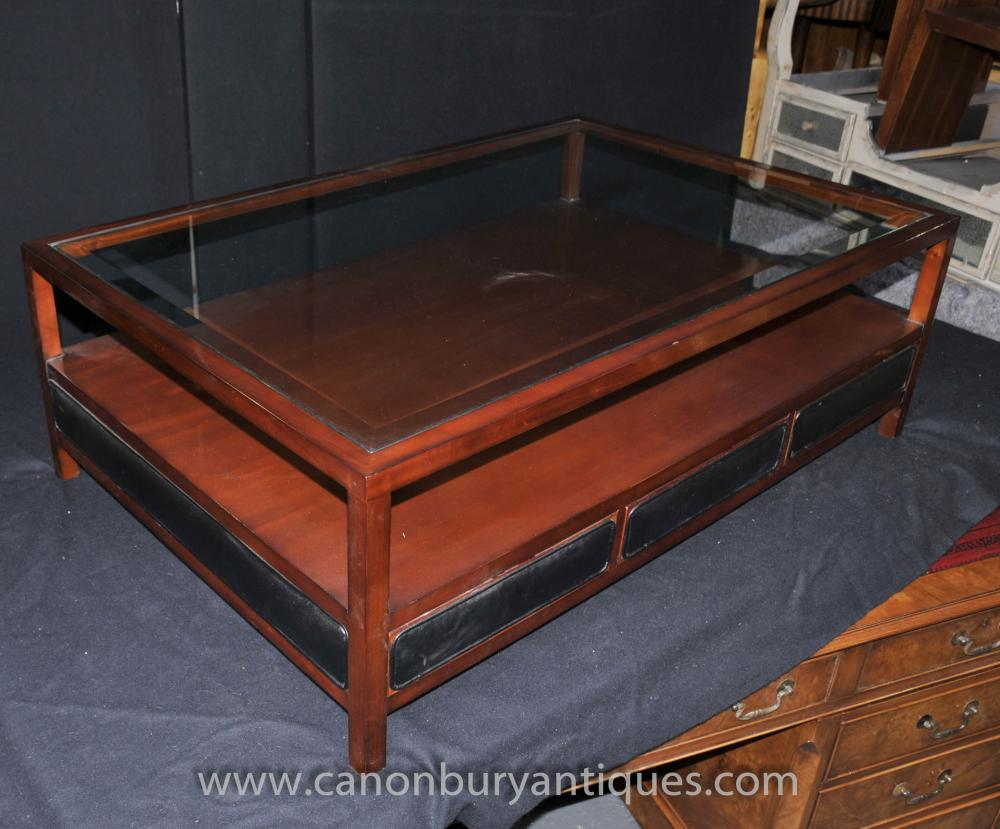 Art Deco Coffee Table Glass Toped Cushioned Sides Vintage Furniture