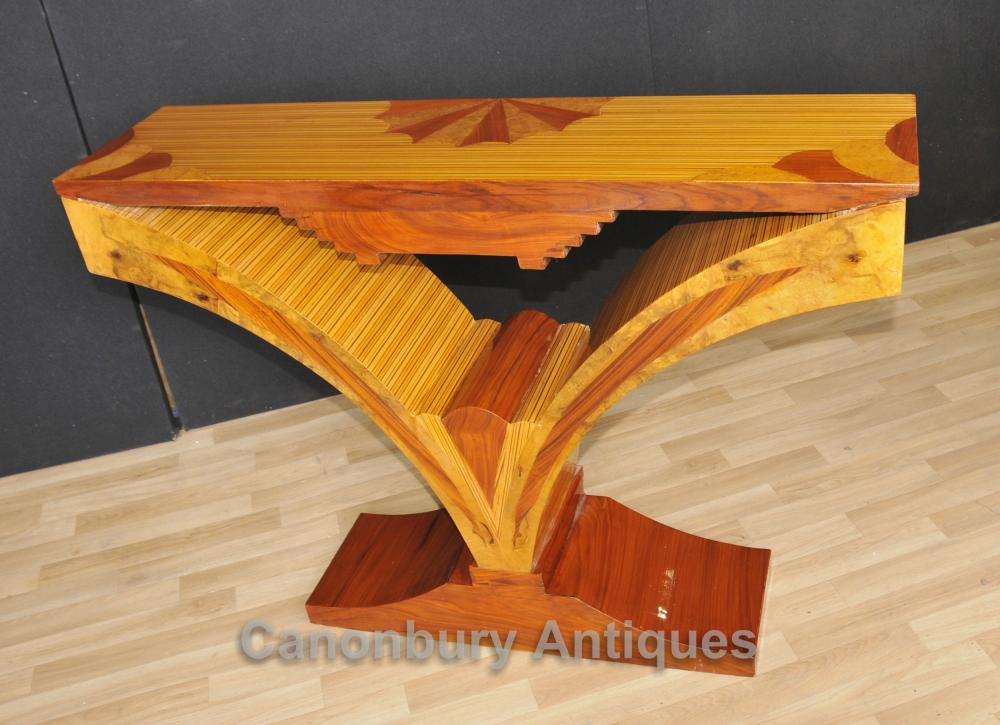 Art deco console table birdseye maple inlay modernist tables for Table de nuit art deco