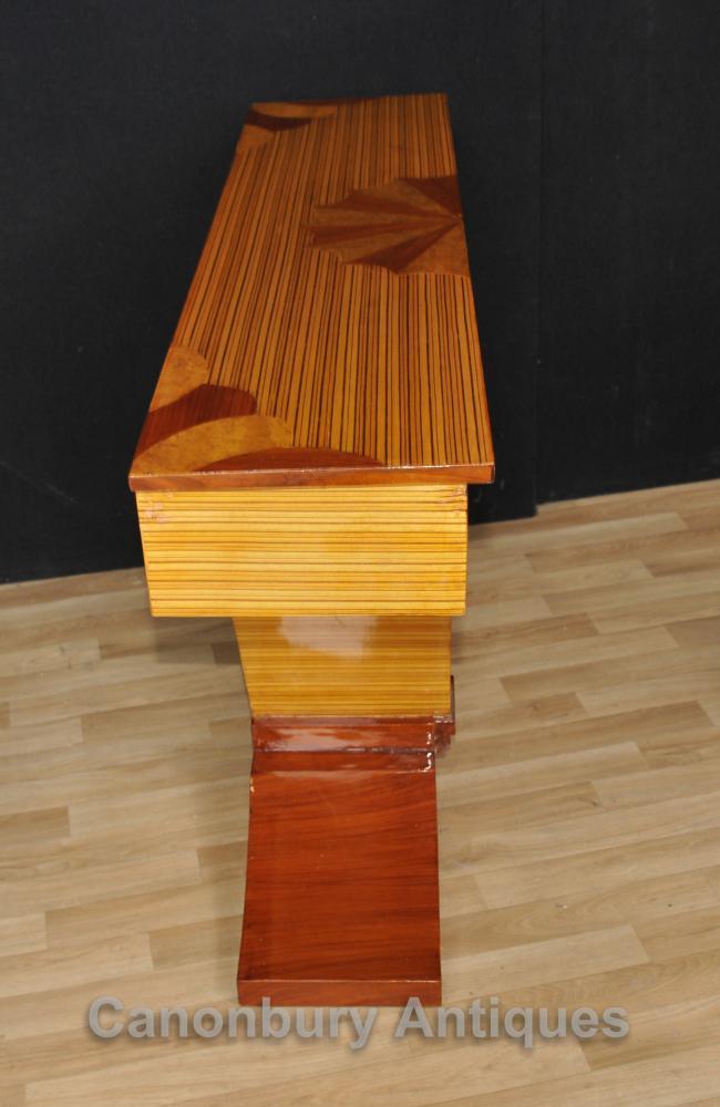 Art Deco Console Table Birdseye Maple Inlay Modernist Tables