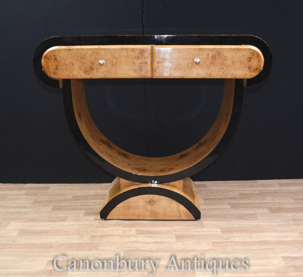 art deco console table blonde walnut 1920s hall tables. Black Bedroom Furniture Sets. Home Design Ideas