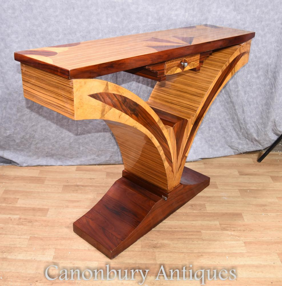 Art deco console table hall tables inlay furniture ebay for Table de nuit art deco