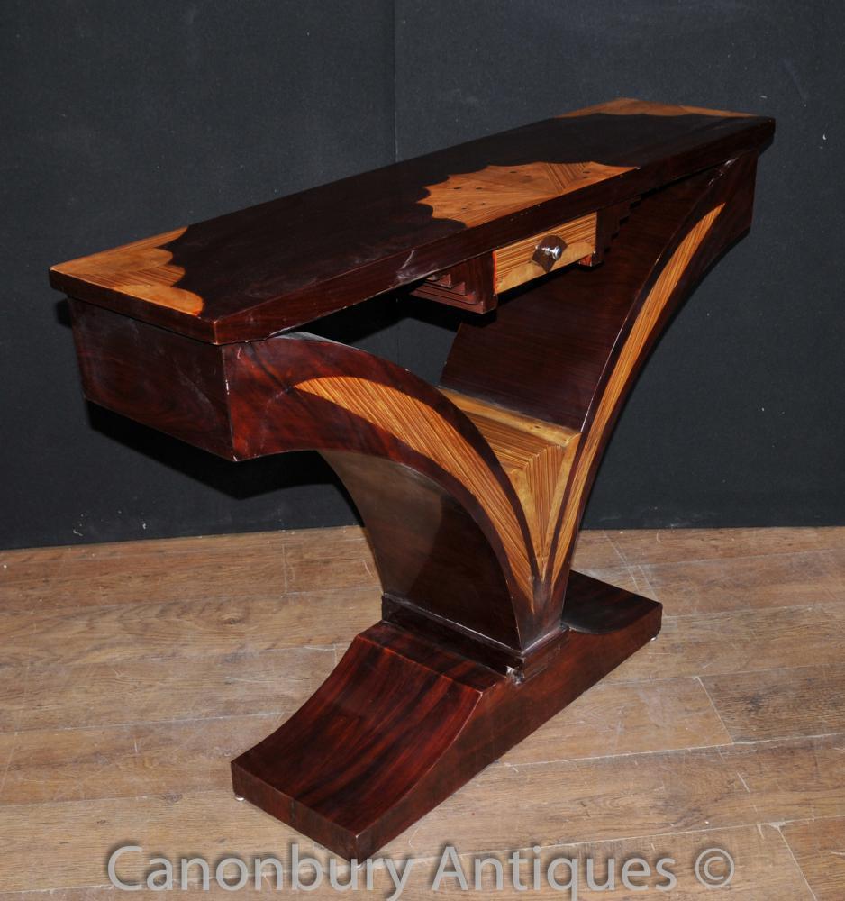 Art Deco Console Table Scallop Inlay Furniture