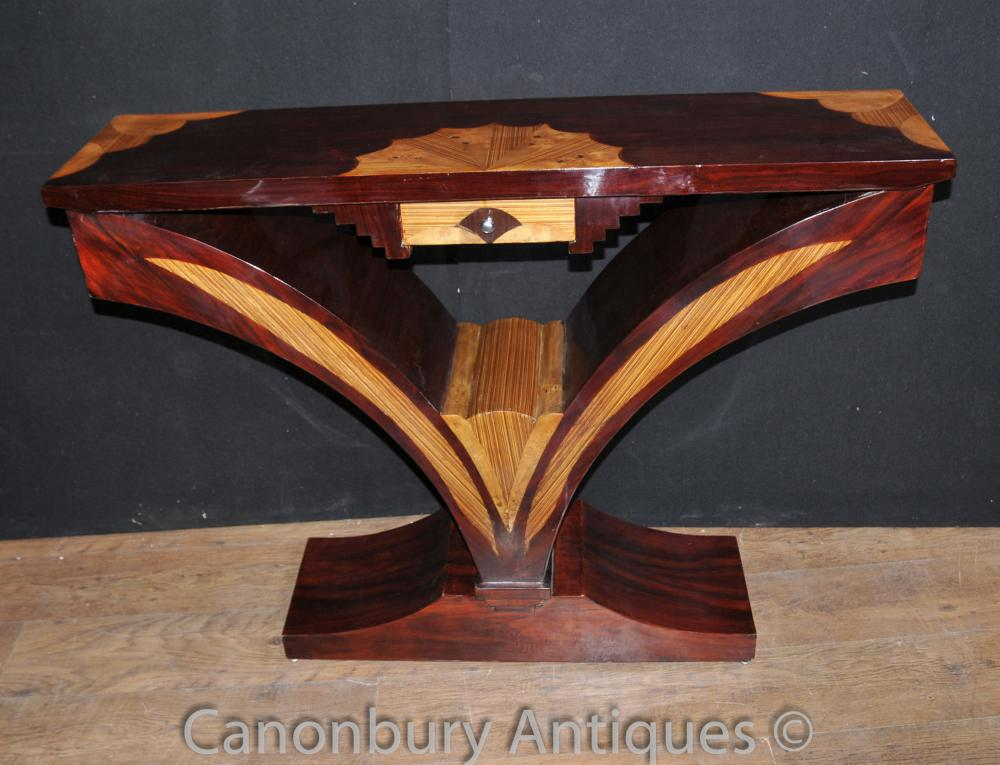 art deco console table scallop inlay furniture. Black Bedroom Furniture Sets. Home Design Ideas