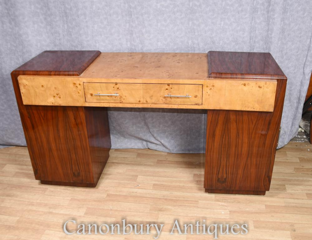 Details About Art Deco Desk Walnut Rosewood Writing Table Furniture