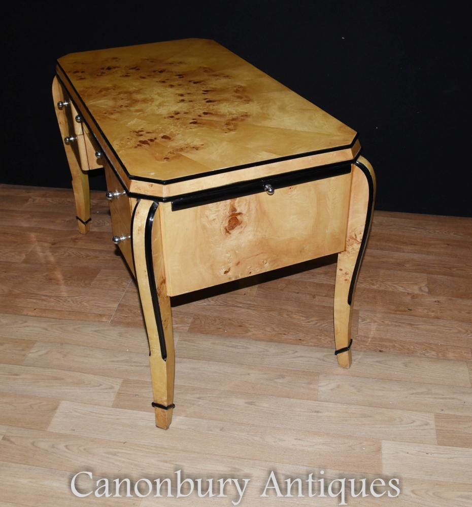 Art deco desk writing table bureau blonde walnut for Art deco writing